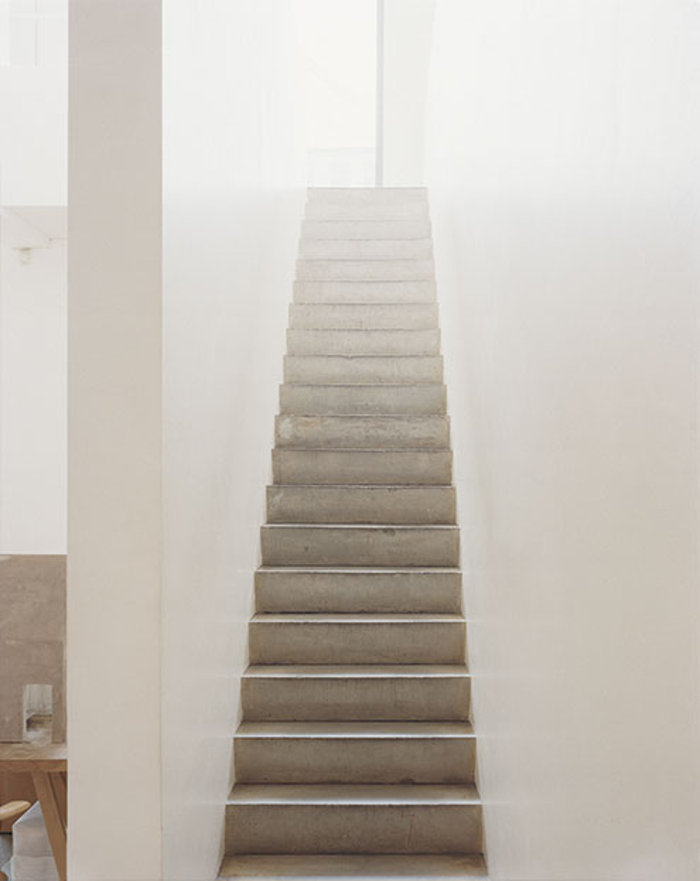 These stark concrete stairs in Pawson's studio are typical of his signature brand of minimalism