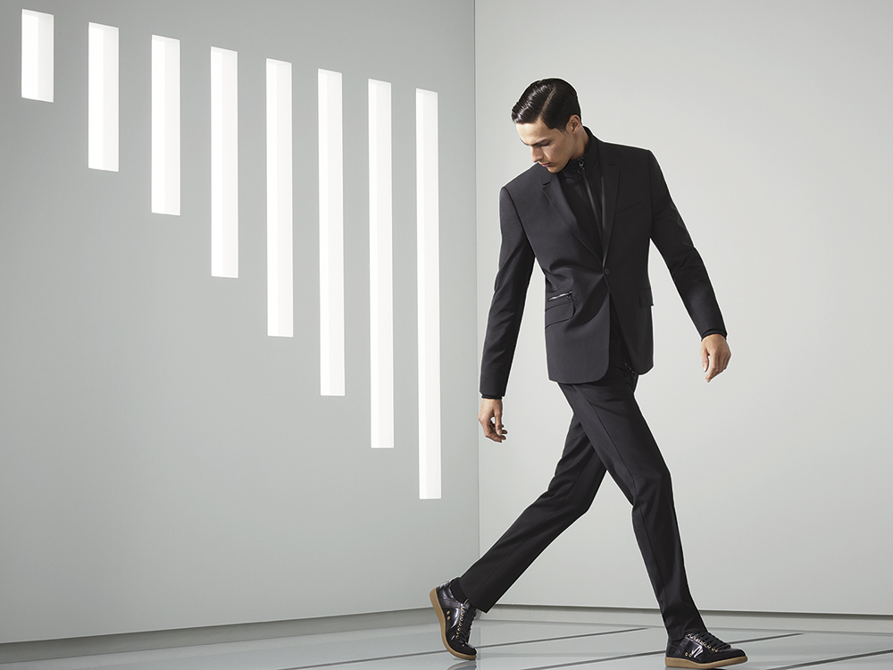 Zip rib jacket, formal jacket, formal flat front trousers, leather trainers
