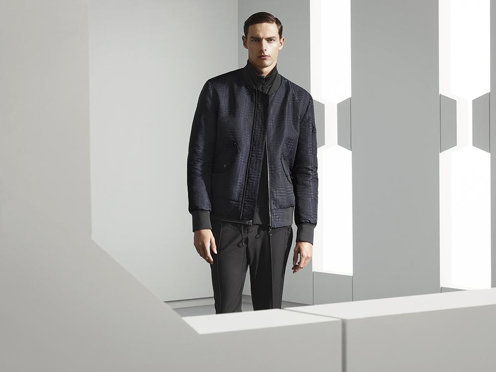 Zip rib jacket, Prince of Wales check bomber jacket, drawstring trousers