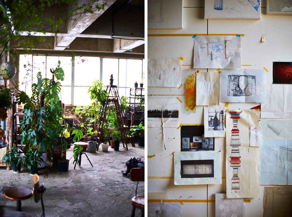 A view inside the studios of Kaibutsu (left) and Shinji Ohmaki (right)