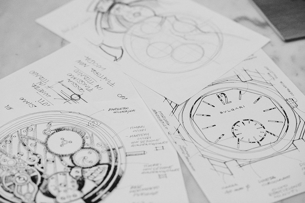 Sketches of the Octo Finissimo Minute Repeater Bulgari