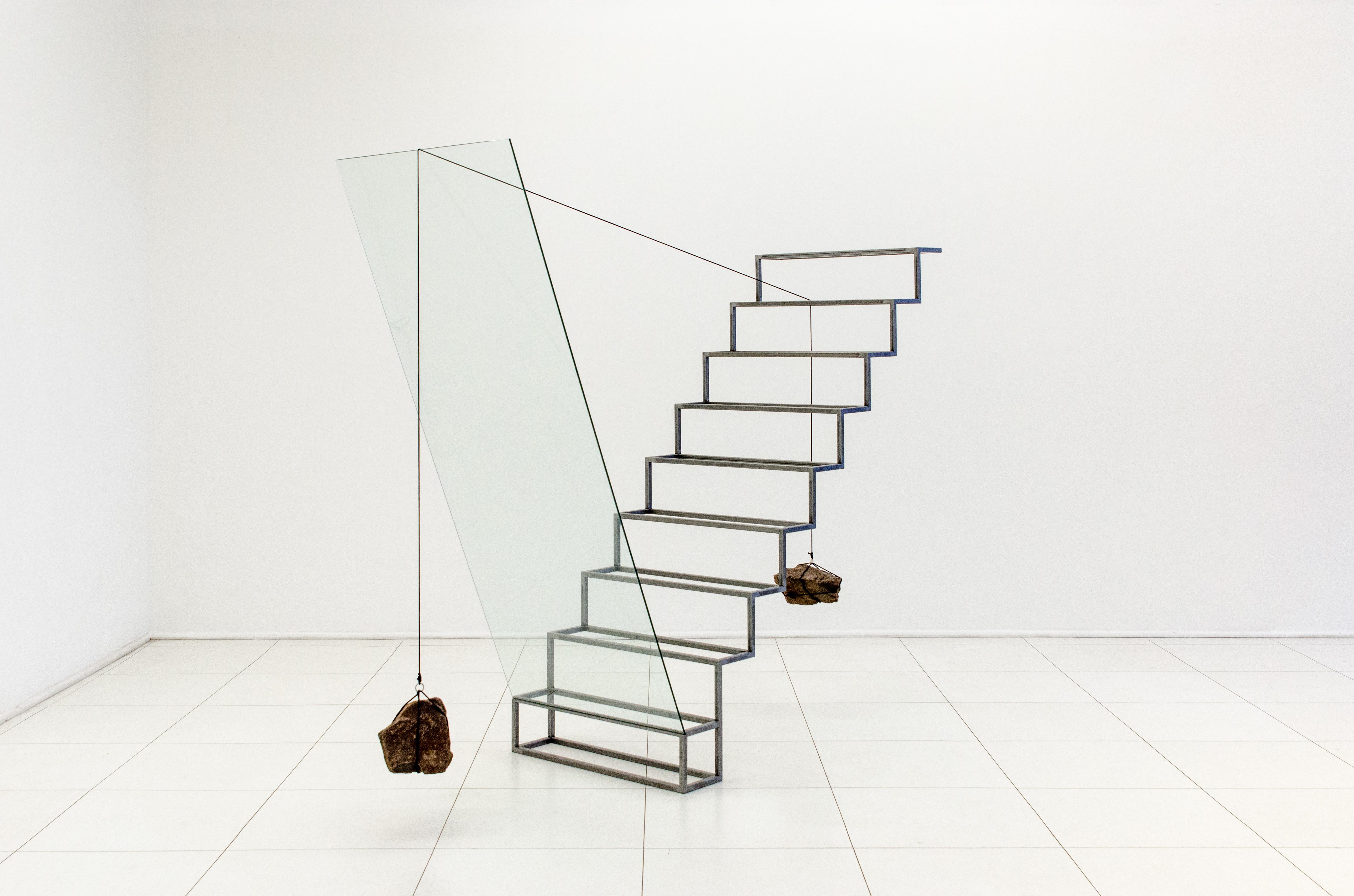 Tulio Pinto Nadir No 8 2014 Steel Ladder Glass Rope and Stones 204x260x80cm