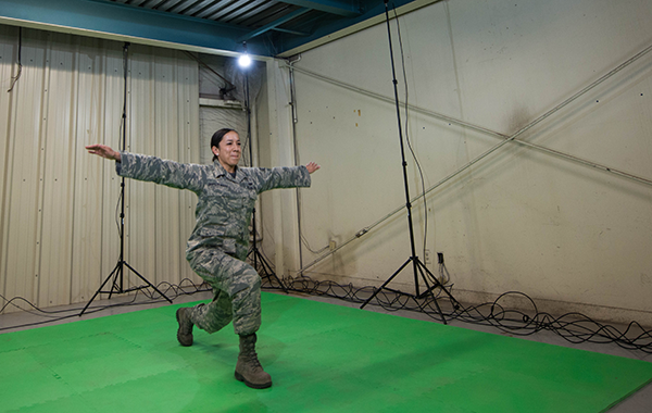 Staff Sgt. Jennifer Oropeza-Magee performs movements during a DARI Motion assessment at Luke Air Force Base, AZ.