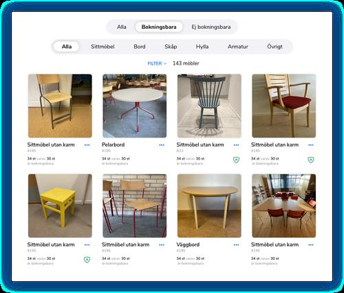 Filtrera på bokningsbara möbler – Element från Sketch