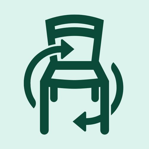 Illustration av en stol som återbrukas eller rekonditioneras