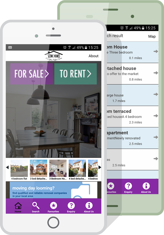 estate agents app mockup