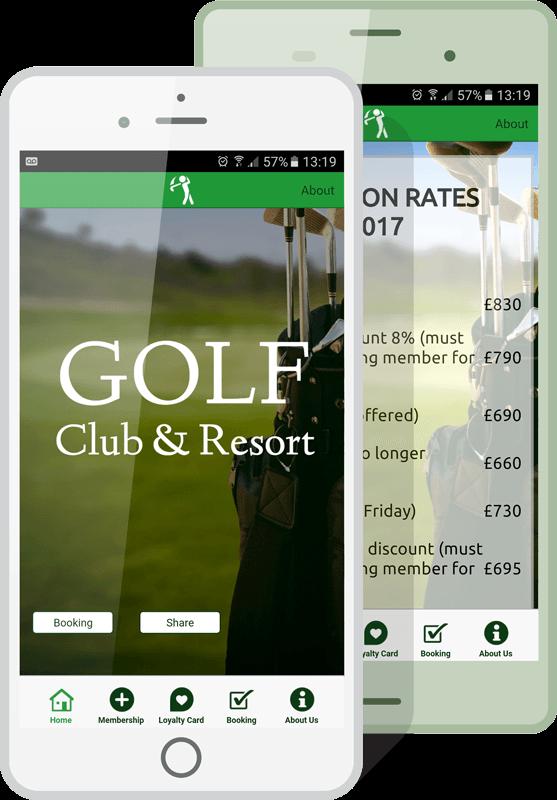 golf club app mockup