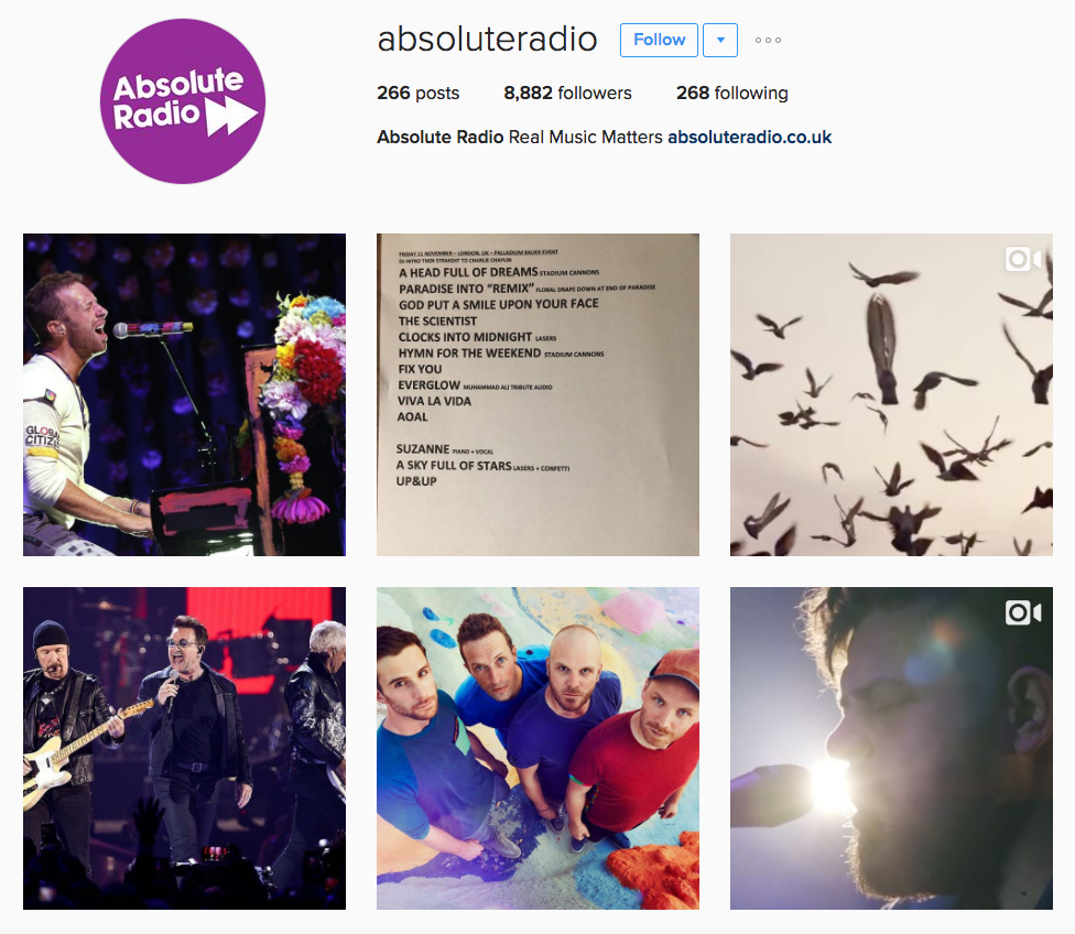 Absolute Radio Instagram