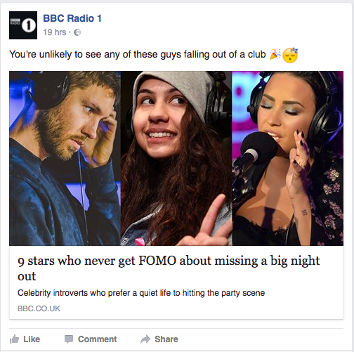 BBC Radio 1 Facebook Post