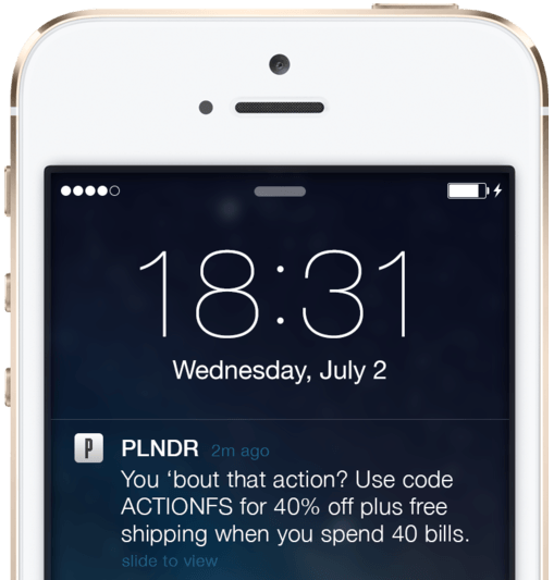 PLNDR push notification