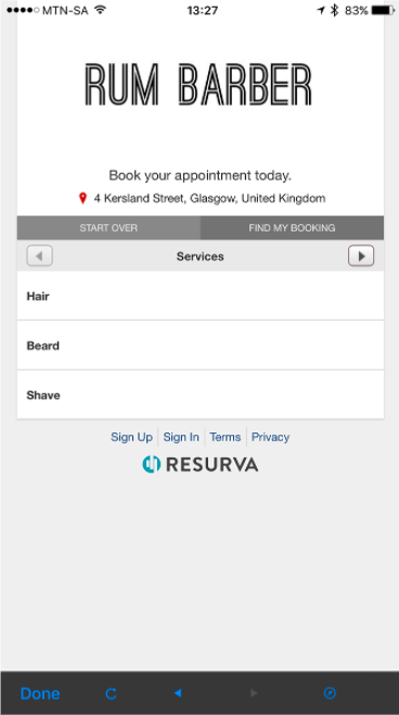 Rum Barber Booking App Screenshot