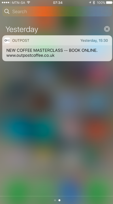 Outpost Coffee Push Notification