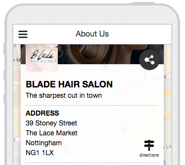 Directions on About Us Tab