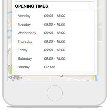 Opening Times About Tab