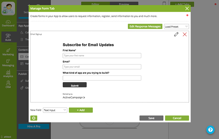 Email Updates Form Tab in Appinstitute CMS