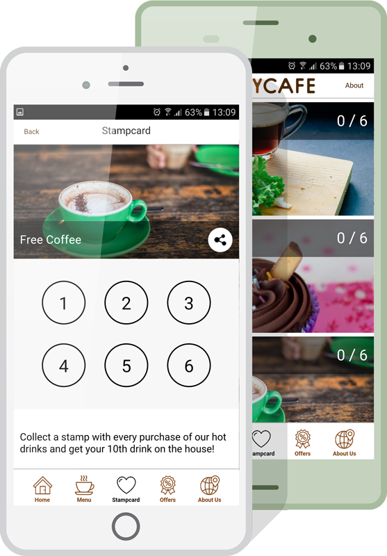 Appinstitute create a loyalty punch card app for your business mobile stamp card loyalty app colourmoves