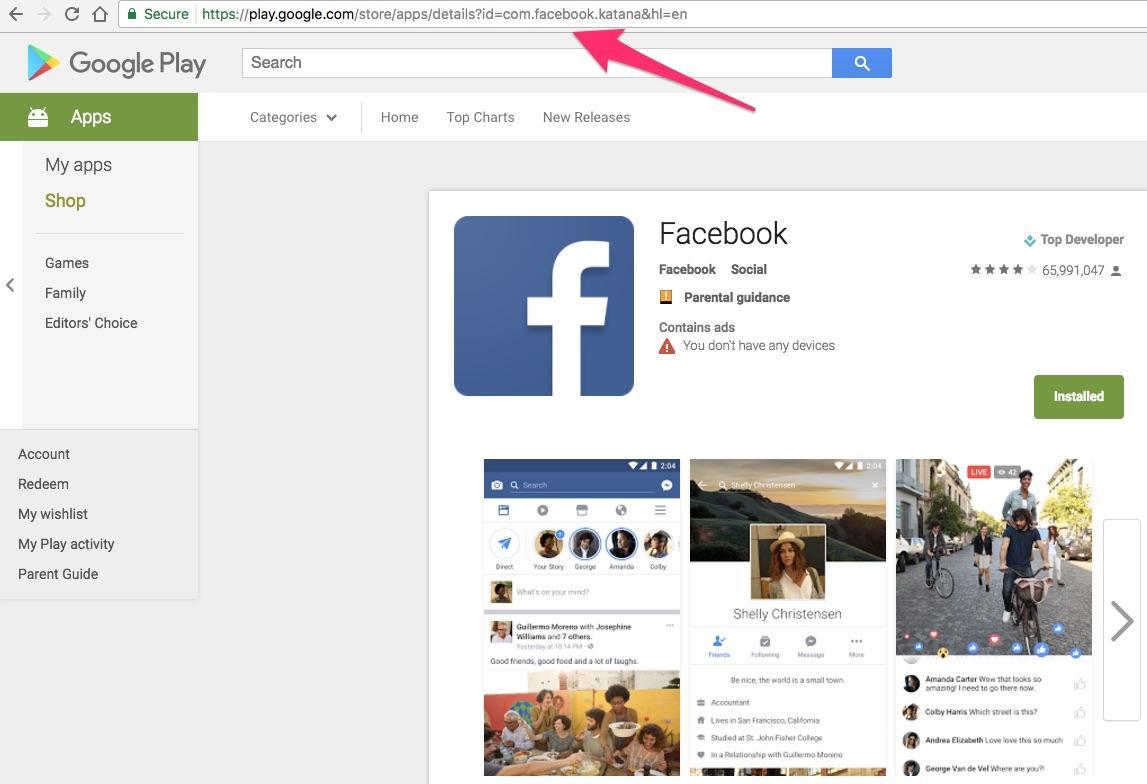 google play app URL