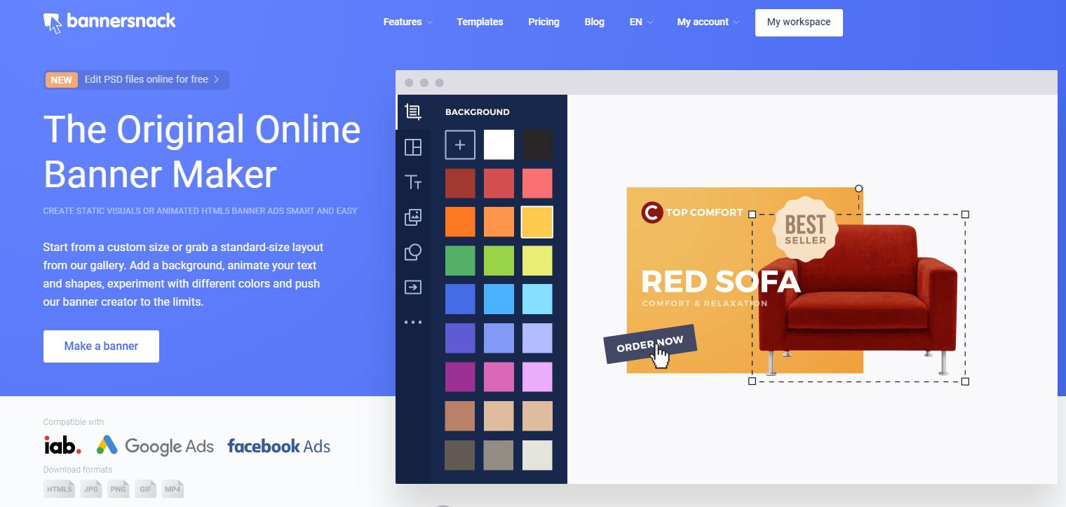 Blue Facebook Marketing Tool Landing Page