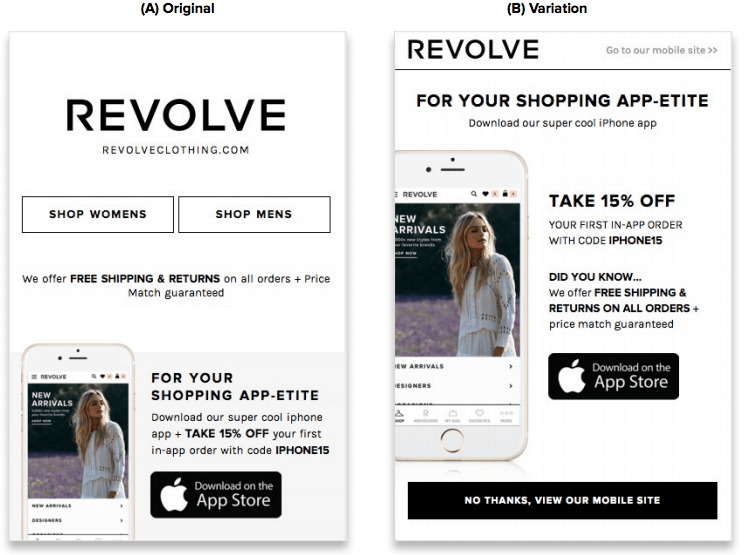 Revolve Clothing A/B Test
