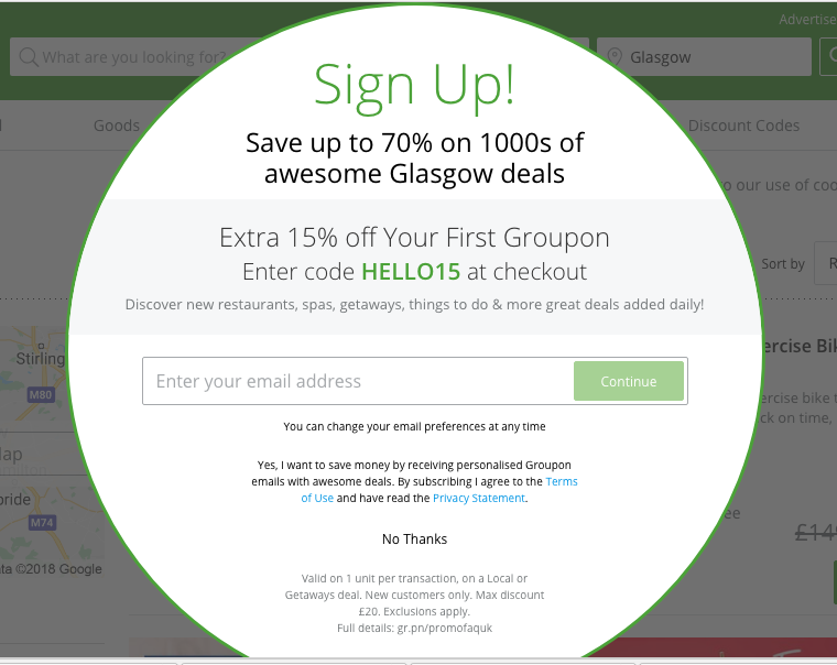 Groupon Email List Popup