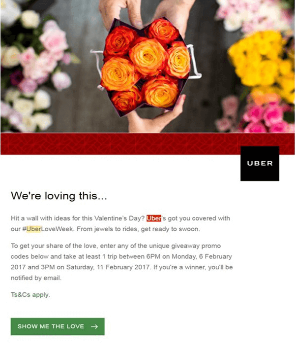 Uber Valentines Day Marketing Email Campaign