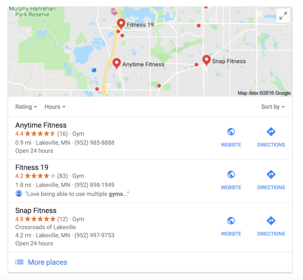 Google Local Pack Gyms