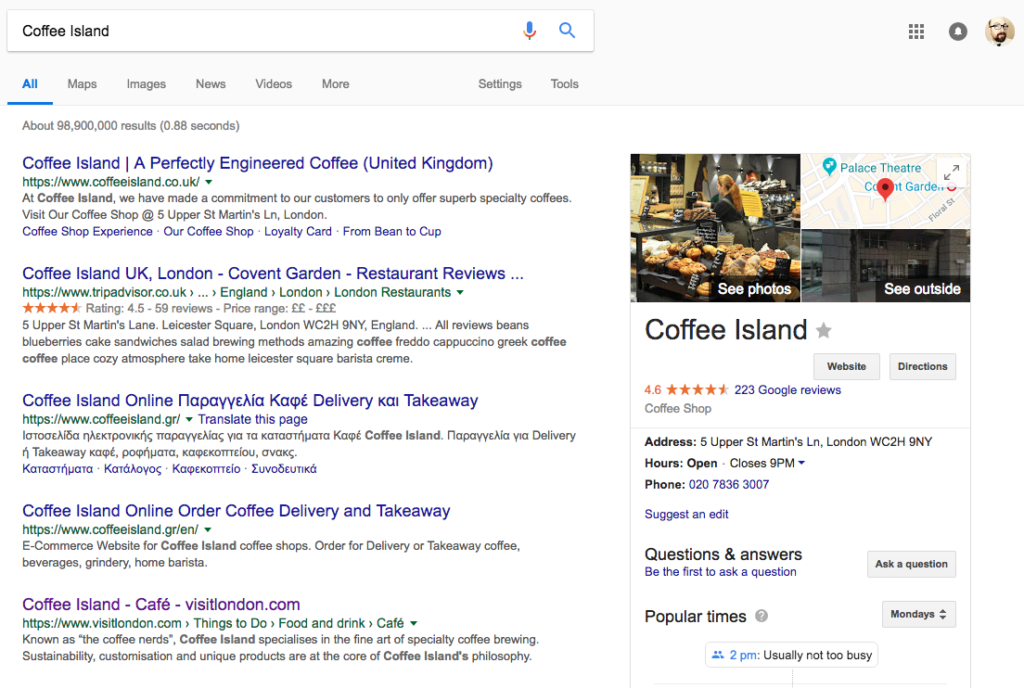 Coffee Island Google SERP