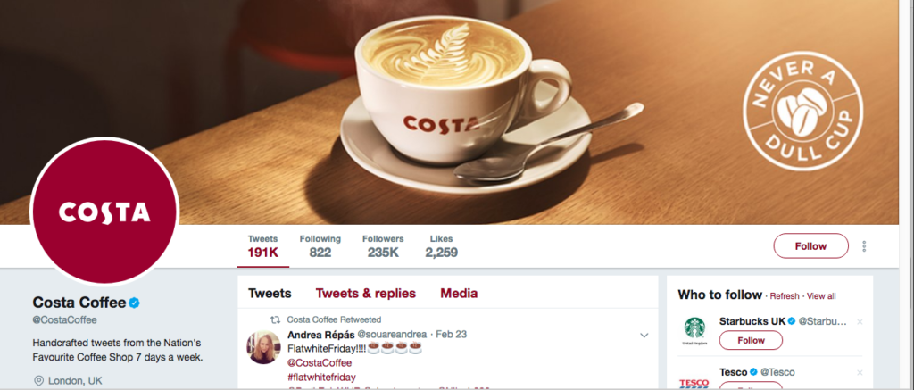 costa coffee twitter page