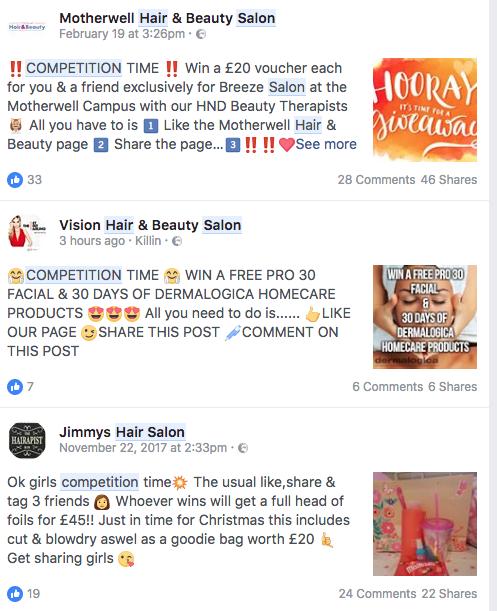 facebook hair salon search results