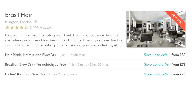 Hair Salon Marketing Brasil Hair Listing on Treatwell