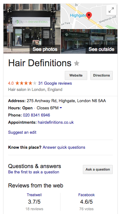 hair definitions google my business listing