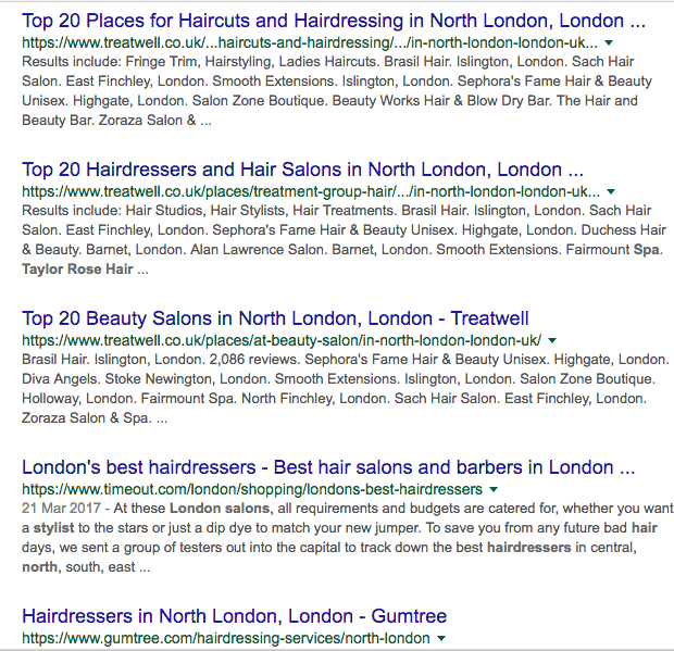 Hair Salon Marketing Local SERP Results