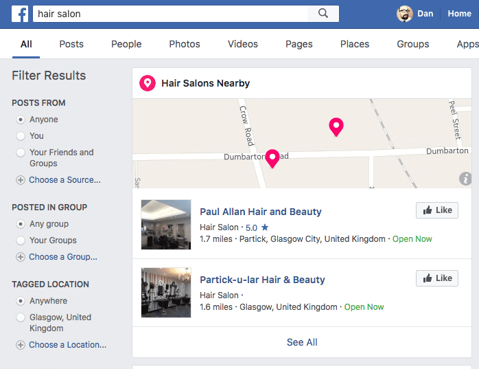 Hair Salons Nearby on Facebook