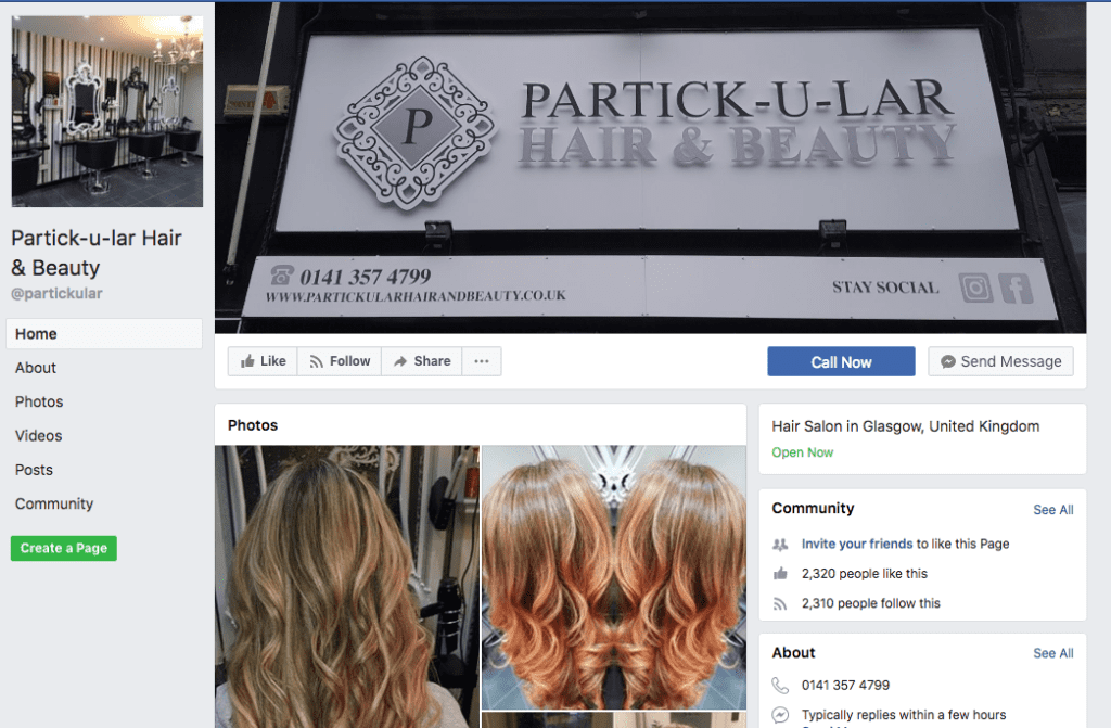 Partick-U-Lar Hair Salon Facebook Page