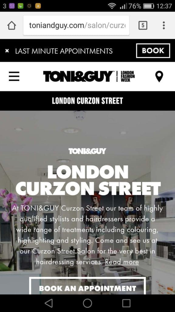Toni and Guy Mobile Site