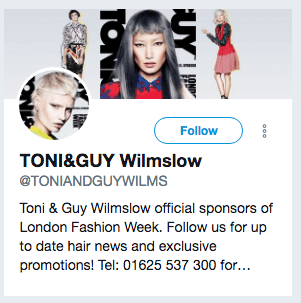Toni and Guy Wilmslow Twitter Bio