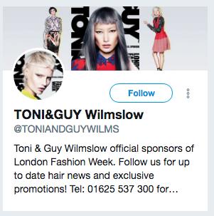 toni and guy wilmslow twitter bio