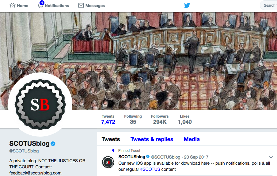 SCOTUS Blog Twitter