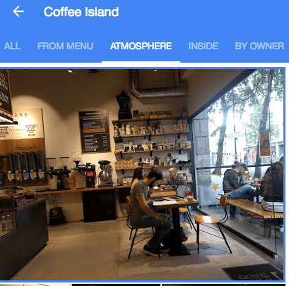coffee island atmosphere google my business