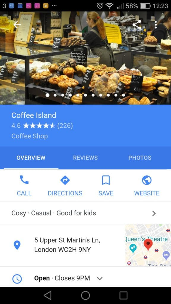coffee island google my business