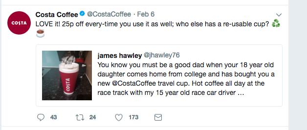 costa coffee reusable cup tweet