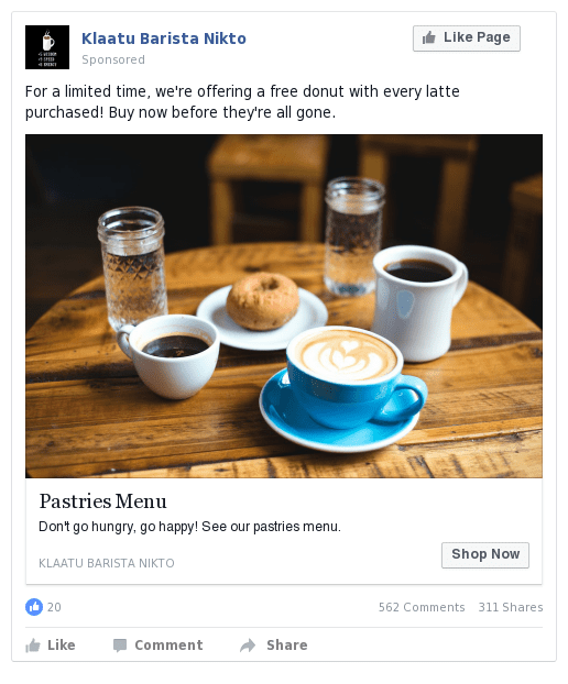 coffee shop facebook advertisement