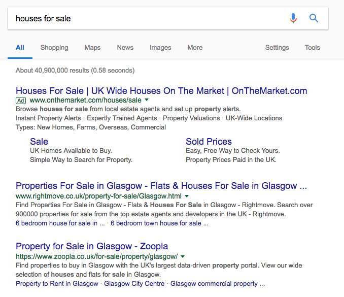 real estate marketing SEO SERP