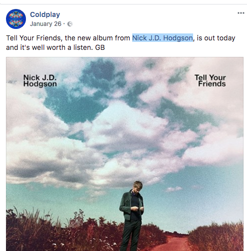 Coldplay Promoting Nick J.D Hodgson on Facebook