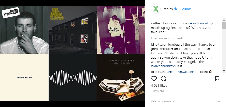 radio x instagram screenshot