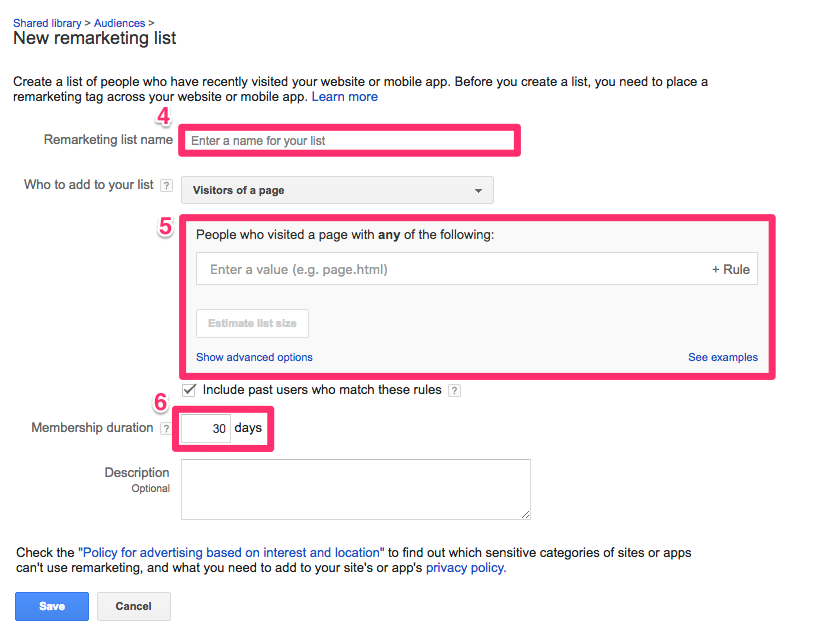 Remarketing List Options