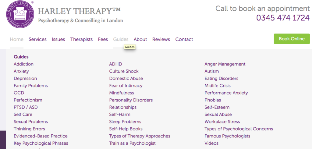 Harley Therapy Website