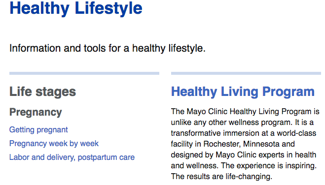 Mayo Clinic Website 2