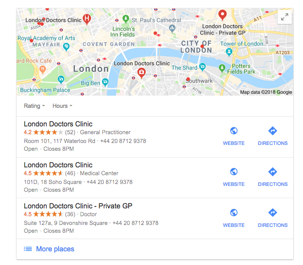Medical Practice Google Local Results