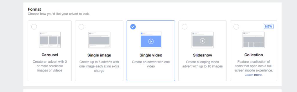 facebook choose ad format